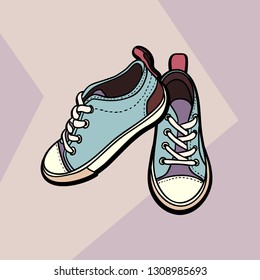 Sneakers converse nude beige blue shoes pair isolated. Hand drawn vector illustration shoes. Sport boots logo, poster, postcard, fashion booklet, flyer. Vector sketch sneakers. Nude blue sport shoes.