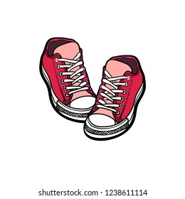 Sneakers converse shoes pair isolated. Hand drawn vector illustration of red shoes. Sport boots hand drawn for logo, poster, postcard, fashion booklet, flyer. Vector sketch sneakers. Red kids shoes.