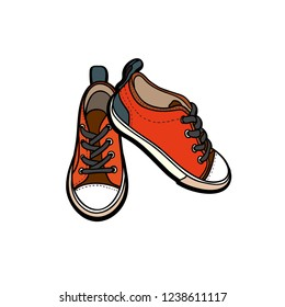 Sneakers converse shoes pair isolated. Hand drawn vector illustration of orange shoes. Sport boots hand drawn for logo, poster, postcard, fashion booklet, flyer. Vector sketch sneakers. Kids shoes.