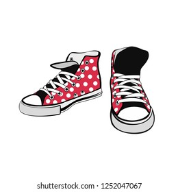 Sneakers converse shoes pair isolated. Hand drawn vector illustration of red shoes with polka dots. Sport boots hand drawn for logo, poster, postcard, fashion booklet, flyer. Vector sketch sneakers.