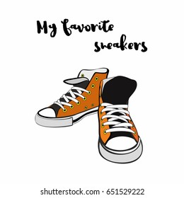 c5f1c86c1cab Sneakers converse shoes pair isolated. Hand drawn vector illustration of  orange shoes. Sport boots