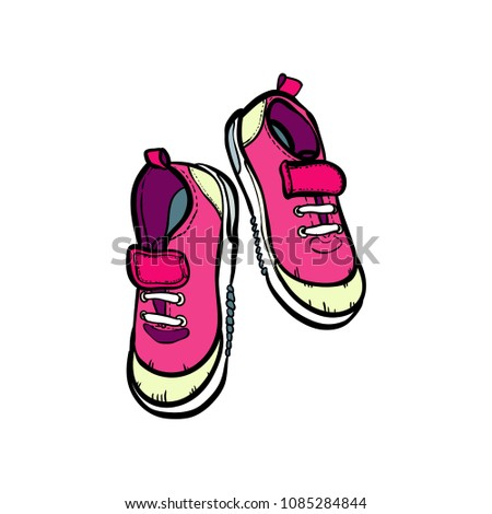 74a3767d1ef3 Sneakers converse shoes pair isolated. Hand drawn vector illustration of  pink shoes. Sport boots hand drawn for logo