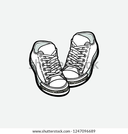 13fac99c4d1818 Sneakers converse shoes pair isolated. Hand drawn vector illustration black  white shoes. Sport boots