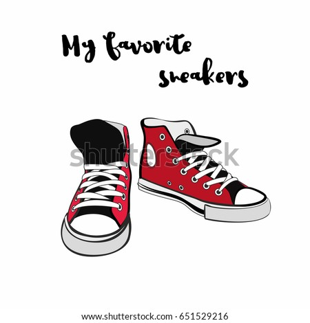 Sneakers converse shoes pair isolated. Hand drawn vector illustration of  red shoes. Sport boots 65a057c14