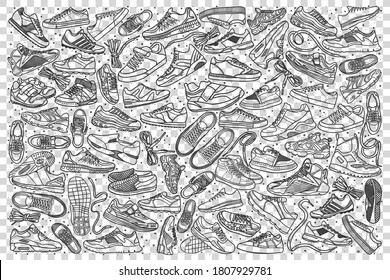 Sneakers doodle set. Collection of hand drawn sketches templates patterns of male female footwear trainers at shoes store on transparent background. Beauty and fashionable lifestyle illustration.