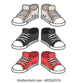 Sneakers drawing set. Black, red and white traditional sport shoes. Sketch doodle style vector illustration.