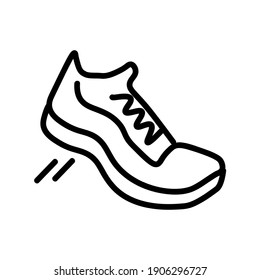 Sneakers flat icon. Pictogram for web. Line stroke. Isolated on white background. Vector eps10