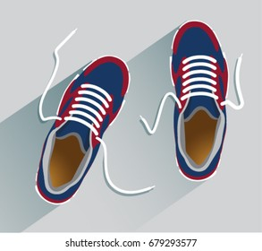 Sneakers. Sneakers in flat style. Sneakers top view. Fashion sneakers. Vector illustration Eps10 file