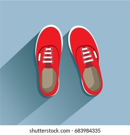 Sneakers in flat style.  Vector illustration Eps10 file