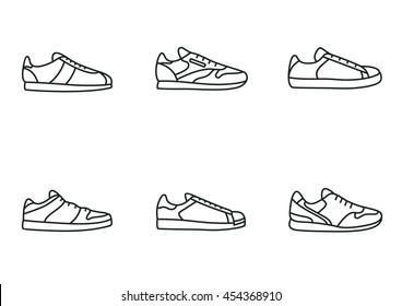 Sneakers icon set. Simple line art collection