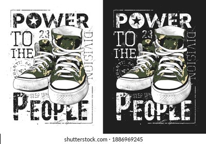 Sneakers illustration for a t-shirt. Military-style graphic.