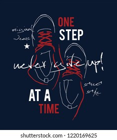Sneakers illustration for t-shirt.  Sport style shoes with never give up motivational message.