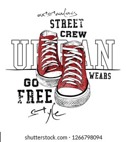 Sneakers illustration for t-shirt. Urban style pair of shoes on white background. 2 colors print.