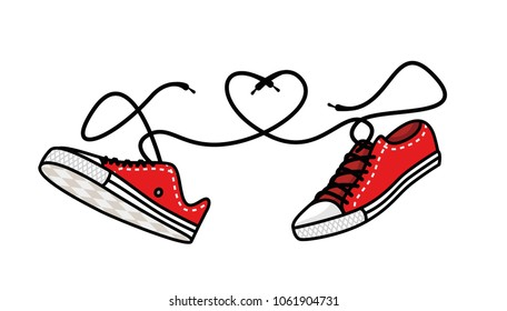 Sneakers love on a white background. Laces form a heart shape, a love for bright shoes. Vector stock illustration for design of a post in a social network or a book.