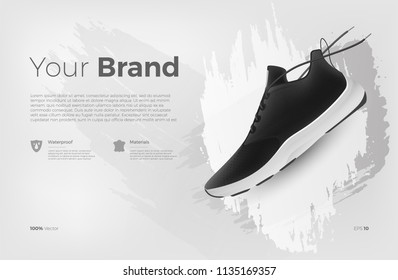 Sneakers on abstract background, realistic style. Sports shoes for running, fitness or walking. Can be used for web, flyers, print, brochures, presentation, banners. Vector illustration. Eps 10
