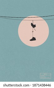 Sneakers on wires. Shoes hanging on power line. Isolated silhouette
