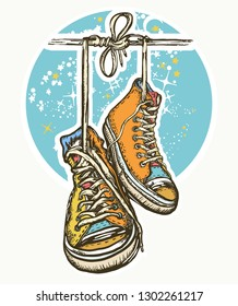 Sneakers on wires in space tattoo and t-shirt design. Symbol of freedom, graffiti, street art. Boots hanging from electrical wire