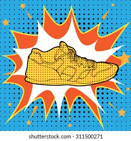 Sneakers in Pop-Art Style. Fashion illustration in lichtenstein pop art style. Pop art comics shoes on halftone background. sneakers andy warhol pop art style