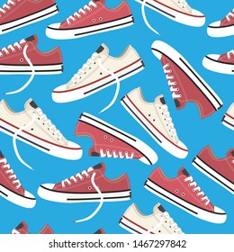 Sneakers seamless pattern. Youth fashion. Vector stock illustration