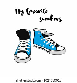 Sneakers shoes. Hand drawn vector hipster illustration for logo, poster, postcard, fashion booklet, flyer. Hand drawn doodle sketch with blue sneakers. Fashion illustration of baby blue youth shoes.