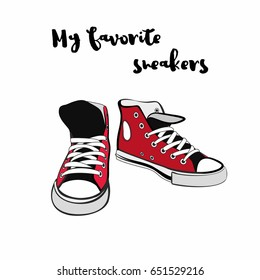 Sneakers shoes. Hand drawn vector hipster illustration for logo, poster, postcard, fashion booklet, flyer. Hand drawn doodle sketch with red sneakers. Fashion illustration of red youth shoes.