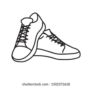 Sneakers shoes. Illustration for logo, poster, postcard, fashion booklet, flyer. Fashion illustration of baby youth shoes. Flat design. EPS 10.