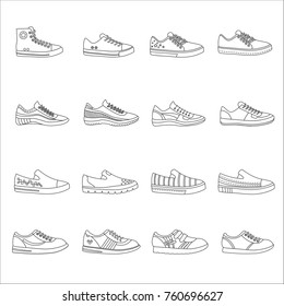 Sneakers shoes outline line stroke icons set.