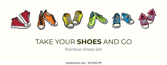 Sneakers shoes pairs isolated. Hand drawn vector illustration set of colorful shoes. Sport boots hand drawn for logo, poster, postcard, fashion booklet, flyer. Vector sketch sneakers. Rainbow converse