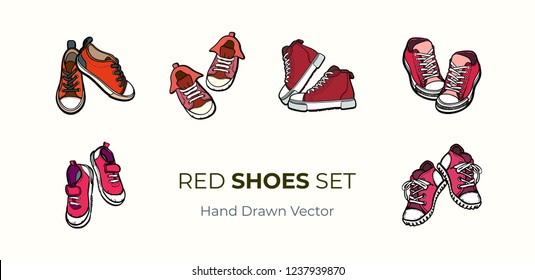Sneakers shoes pairs isolated. Hand drawn vector illustration set of red shoes. Sport boots hand drawn for logo, poster, postcard, fashion booklet, flyer. Vector sketch sneakers. Red converse shoes.