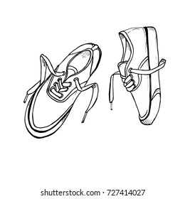 Sneakers sketch isolated. Hand drawn vector illustration on white background. Black & white.