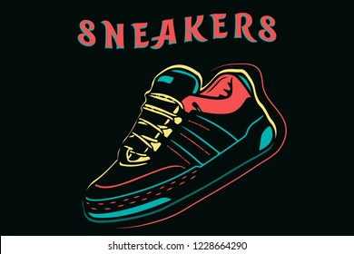 Sneakers, sport shoes isolated cartoon design in neon style vector illustration with typography