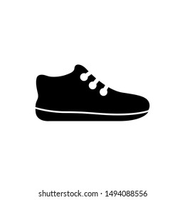 Sneakers, Tennis Shoe, Sport Footwear. Flat Vector Icon illustration. Simple black symbol on white background. Sneakers, Tennis Shoe, Sport Footwear sign design template for web and mobile UI element