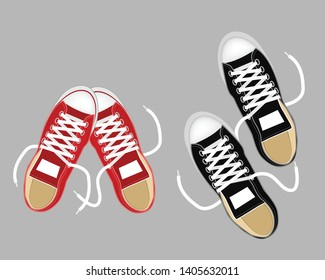 Sneakers top view. Sport pair red and black shoes vector illustration. Isolated realistic keds