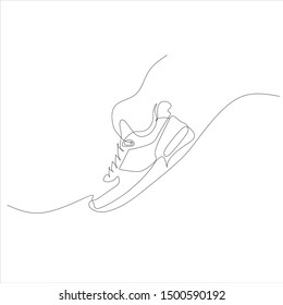 sneakers vector logo. sneakers line illustration. sneakers line drawing. Sport shoes. Sport running logo. Minimal gym logo