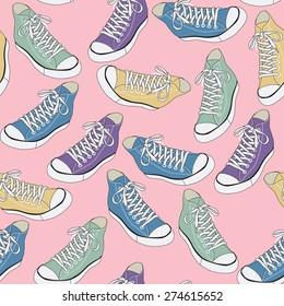 Sneakers vector seamless pattern