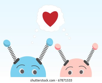 Sneaking Robots in Love Valentine Geek Fun