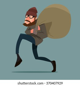 sneaking thief, cartoon character, vector illustration