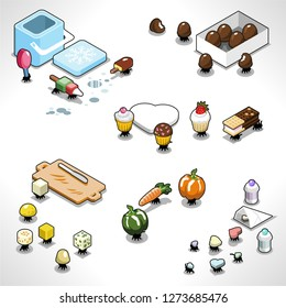 Sneaky picnic ants carrying food such as ice cream, cheese, vegetables, candy and muffins (isometric illustration)