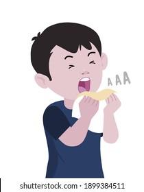 Sneezing boy concept vector illustration. A boy sneezing in handkerchief. Sick boy sneeze. Season allergy. covid symptoms