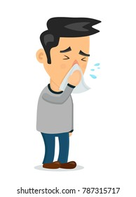 Sneezing person man character.Vector flat cartoon illustration icon design.Isolated on white background. Allergy,sick,flu concept