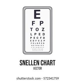 Snellen Chart Medical Pharmaceutical Hospital Equipment Filled Outline Style Vector Isolate Element