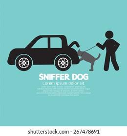 Sniffer Dog Smell At Car's Trunk Vector Illustration