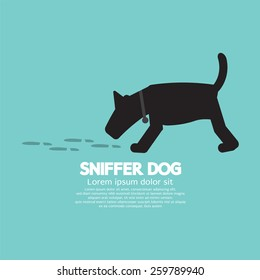 Sniffer Dog Smell Footprint On Ground Vector Illustration