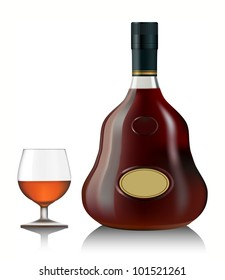 Snifter glass of cognac and bottle on white background. vector