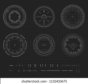 Sniper aim, digital smart device display, HUD infographic, design element. Shooting range, aim, target icon collection. Vector abstract logo template collection, illustration on black background