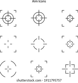 Sniper aim on white background. Target icons. Focus symbol in circle. Isolated gun shoot aim set. Bullseye vision collection. Round aiming focus. Vector illustration.