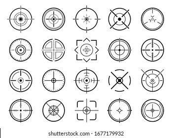 Sniper aim pointer. Target navigation, sniper weapon mark cursor, different focus military sight and focused eye shooting aims vector symbols set. Focus sniper, sight military for shoot illustration
