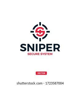 Sniper Aim Target Vector Logo. S Letter Vector Logo