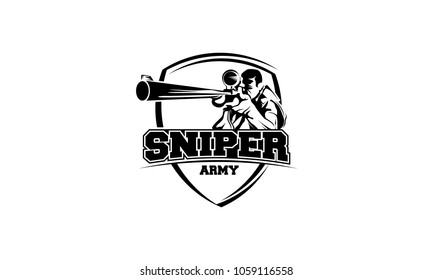 sniper army logo design template