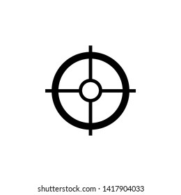 Sniper crosshairs bold icon. Simple gun scope sight glyph